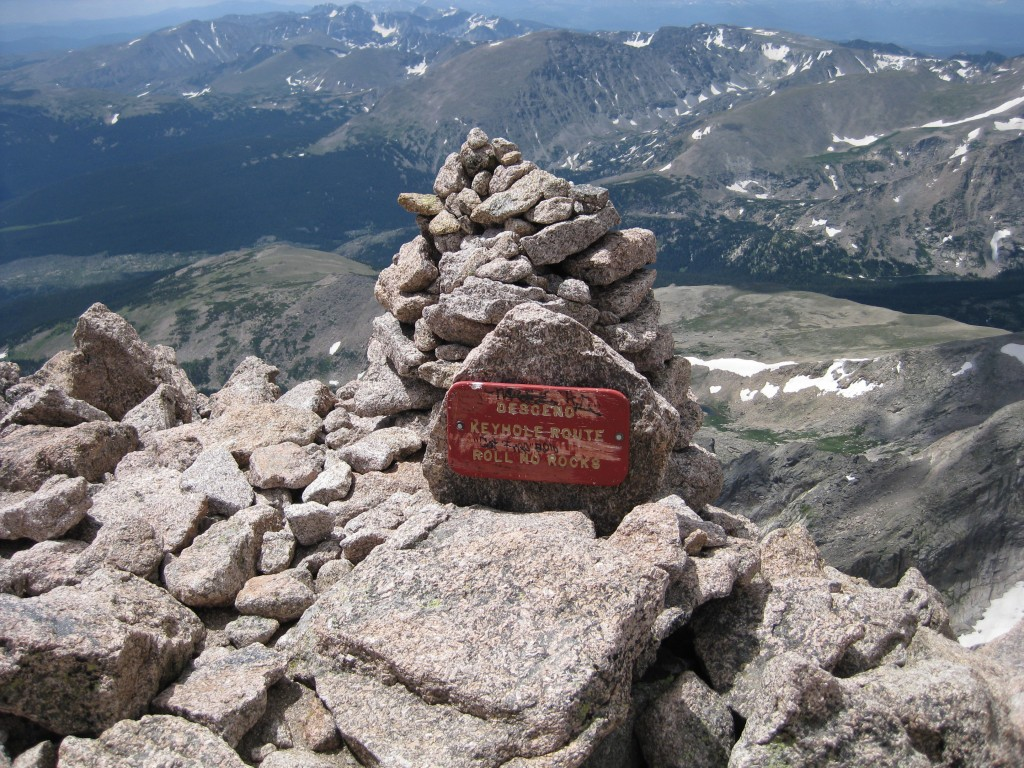 The sign at the summit of Longs Peak indicating the regular descent route.